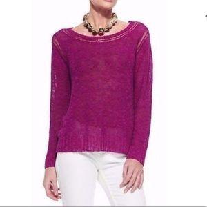 Eileen Fisher Cerise Pink Linen Blend Sweater Top